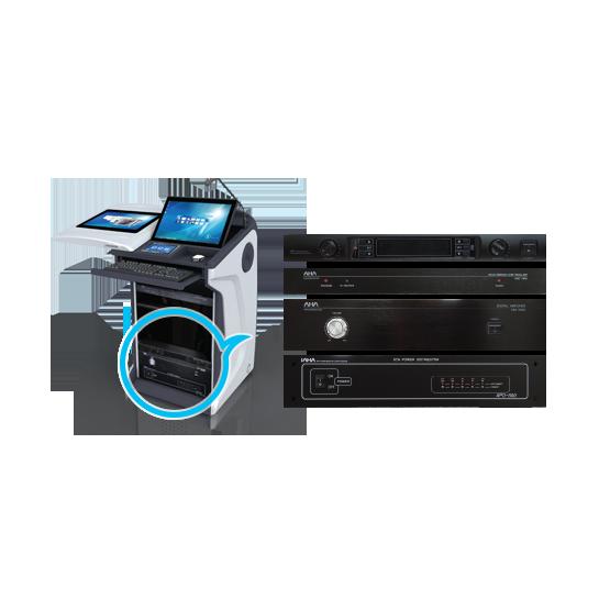 Интерактивная трибуна AHA elf-72G комплектуется мультимедиа контроллером и усилителем