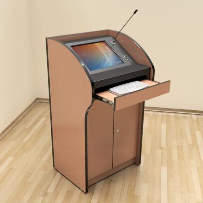 Интерактивная трибуна SMARTONE PRO17 вид сбоку с выдвинутой клавиатурой